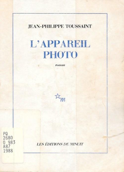 Jean-Philippe Toussaint, l'Appareil-photo, 1988, couverture
