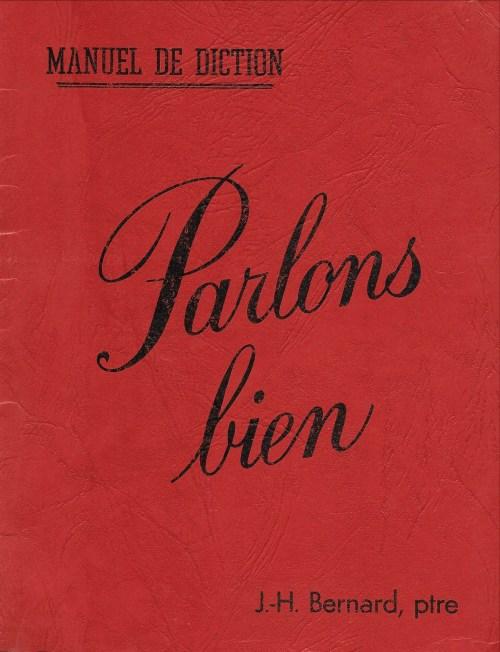 Manuel de diction. Parlons bien, 1950, couverture