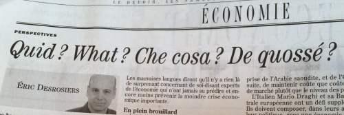 Le Devoir, 24-25 janvier 2015, p. C2