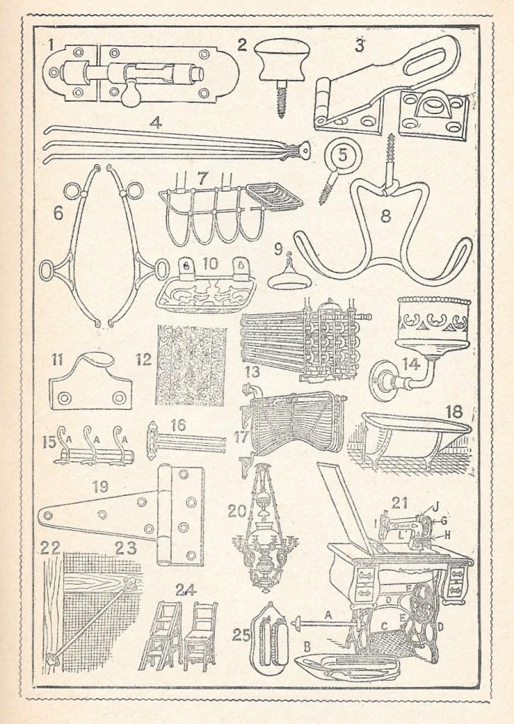 Abbé Étienne Blanchard, 2000 mots bilingues par l'image, éd. de 1920, p. 23, «Serrurerie, quincaillerie, etc.»