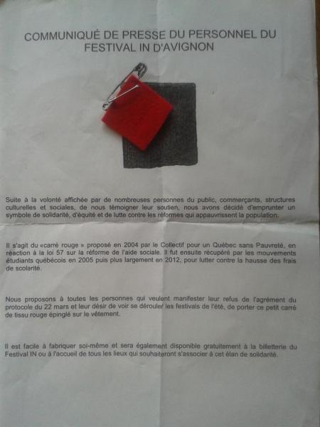 Le carré rouge au Festival d'Avignon