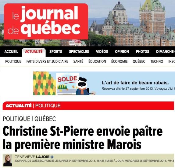 Christine Saint-Pierre citée dans le Journal de Québec