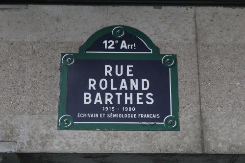 Rue Roland-Barthes, Paris, 12e, plaque
