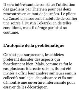 «L'autopsie de la problématique» (RDS, 12 janvier 2015)