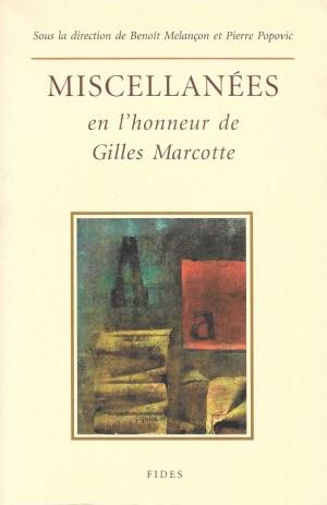 Miscellanées en l'honneur de Gilles Marcotte, 1995, couverture