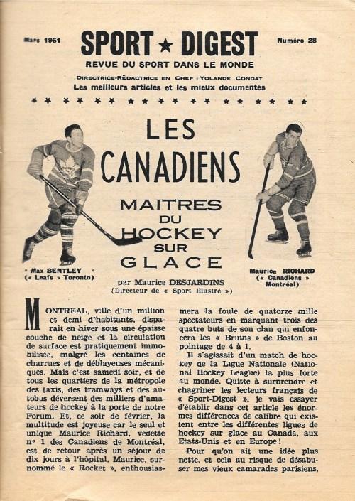 Maurice Desjardins, «Les Canadiens maîtres du hockey sur glace», Sport-digest. Revue du sport dans le monde, 28, mars 1951, p. 9