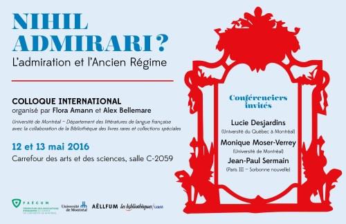Affiche du colloque Nihil admirari ? L'admiration et l'Ancien Régime, Montréal, mai 2016