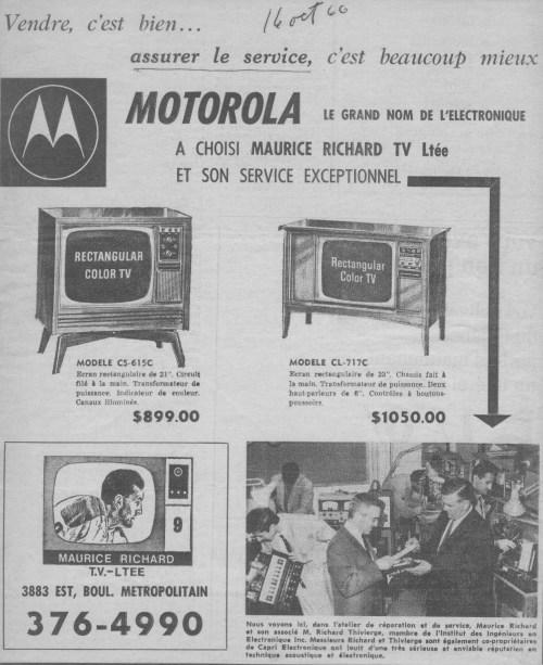 Publicité pour les télévisions Motorola avec Maurice Richard, octobre 1966