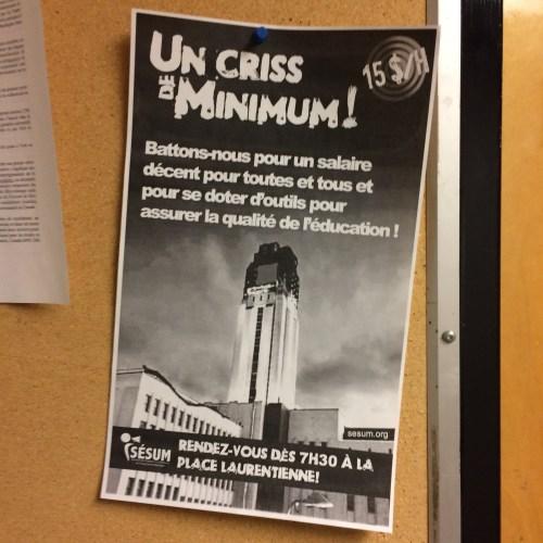 Publicité syndicales, Université de Montréal, 12 décembre 2016