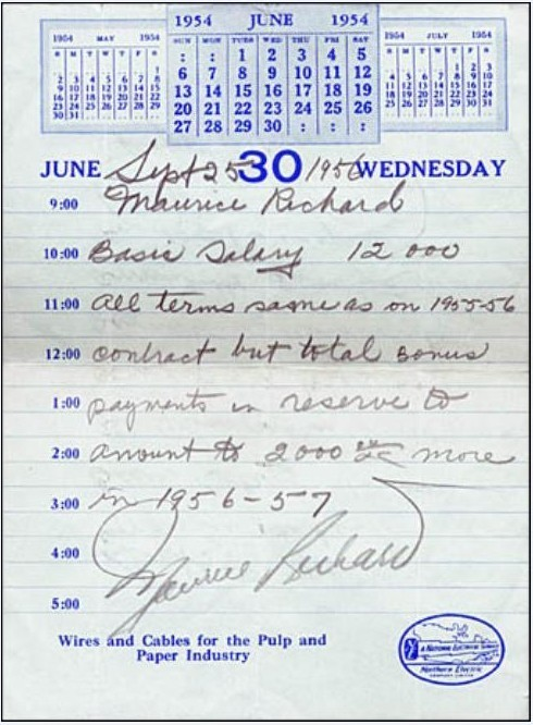 Contrat de Maurice Richard pour la saison 1956-1957
