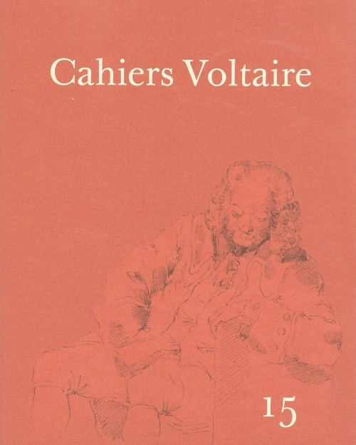 Cahiers Voltaire, 15, 2016, couverture