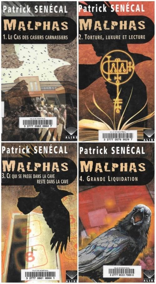 Patrick Senécal, Malphas, couvertures des quatre tomes