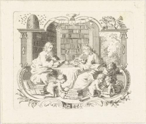 Deux jeunes chercheurs dans une bibliothèque, Abraham Delfos, 1741-1780