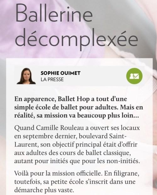 «Ballerine décomplexée», la Presse+, 1er mars 2017