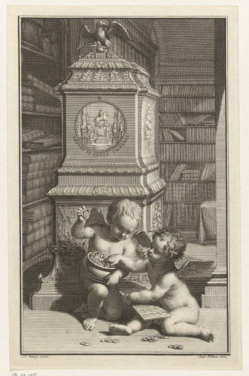 «Deux enfants dans une bibliothèque», gravure de Jacob Folkema, circa 1720