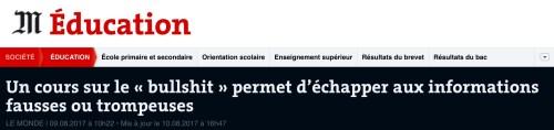 Le Monde, 9 août 2017 : «bullshit» au masculin