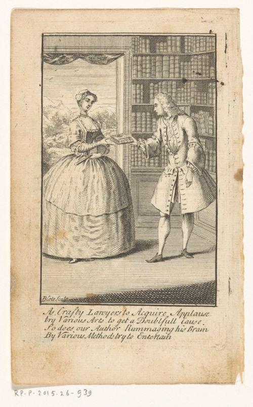 Scène de bibliothèque privée, gravure de Blote (1736-1799)