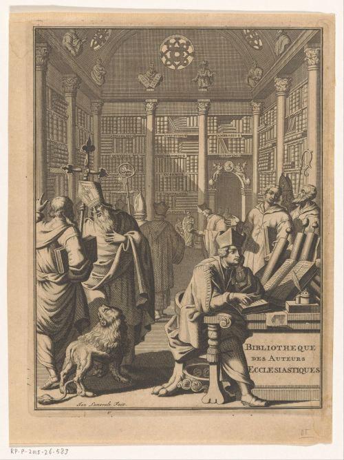 Nouvelle bibliotheque des auteurs ecclesiastiques, gravure de Jan Lamsvelt, 1710-1715