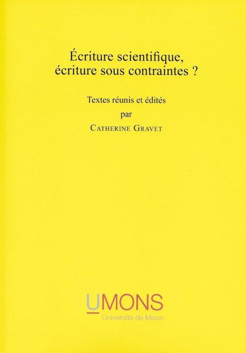 Écriture scientifique, écriture sous contraintes ?, ouvrage collectif, 2013, couverture