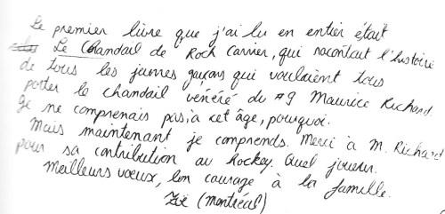 Message d'enfant tiré de Maurice Richard. Paroles d'un peuple, 2008, p. 61