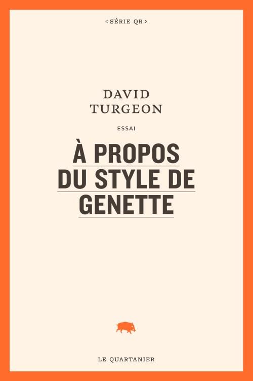 David Turgeon, À propos du style de Genette, 2018, couverture