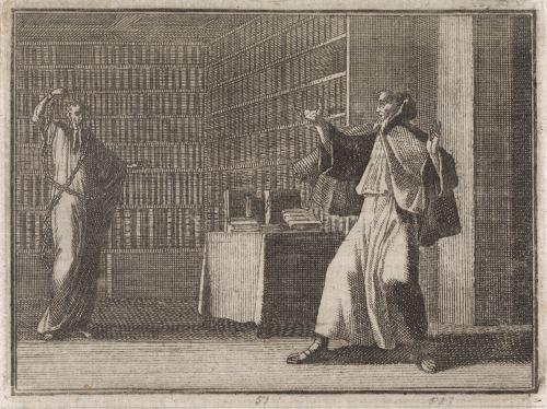 Un moine et un fantôme dans une bibliothèque, gravure de Caspar Luyken, 1704
