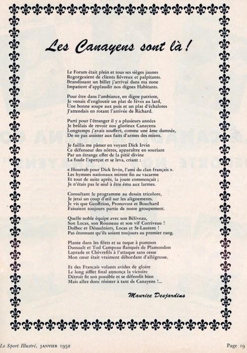 Maurice Desjardins, «Les Canayens sont là !», poème, le Sport illustré, janvier 1952, p. 19