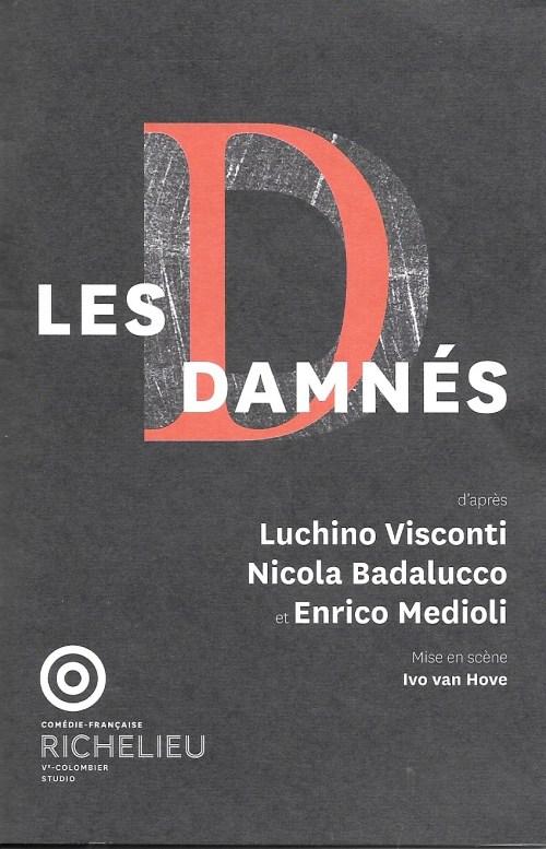 Les Damnés, Comédie-Française, 2019, programme, couverture