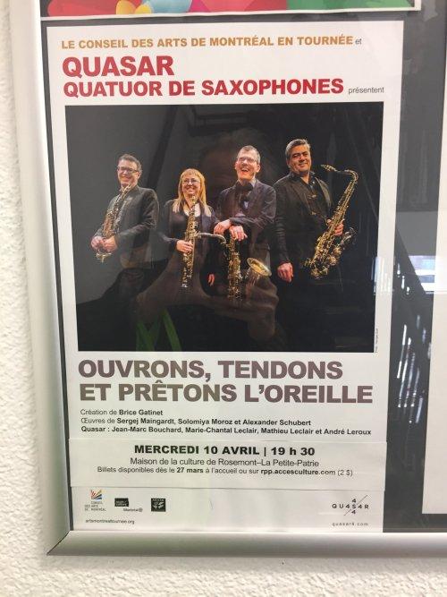 Publicité du quatuor de saxophones Quasar