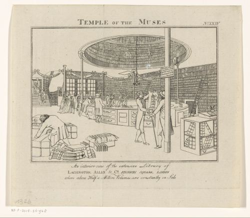 «Temple of the Muses», gravure de John Walker, Londres, ca 1798 - ca 1822