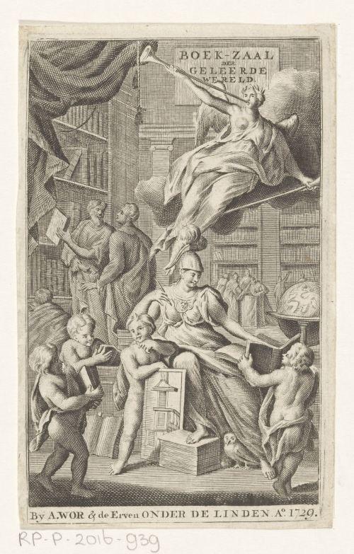 Minerve et des érudits dans une bibliothèque, gravure anonyme, Amsterdam, 1729