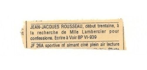 Petite annonce, hebdomadaire montréalais Voir, années 1990