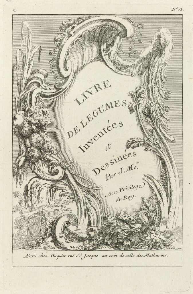 Livre de légumes inventées et dessinées par J. Mer., 1735-1750, page de titre