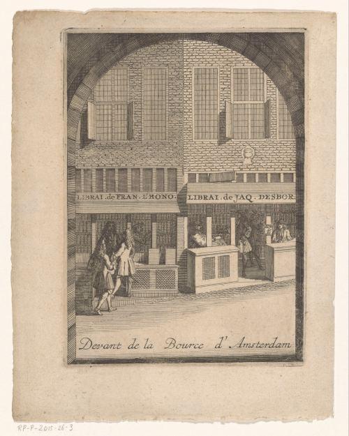 Librairies de Francois L'Honoré et de Jacques Desbordes devant de la Bourse d'Amsterdam, gravure anonyme, 1715