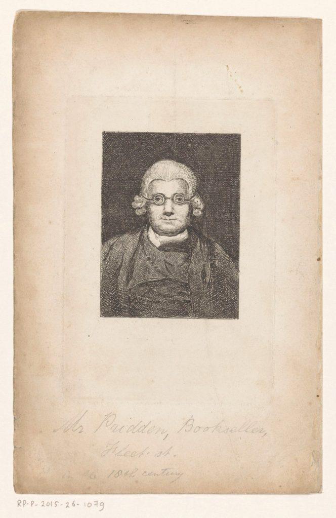 Portrait du libraire londonien John Pridden, gravure anonyme
