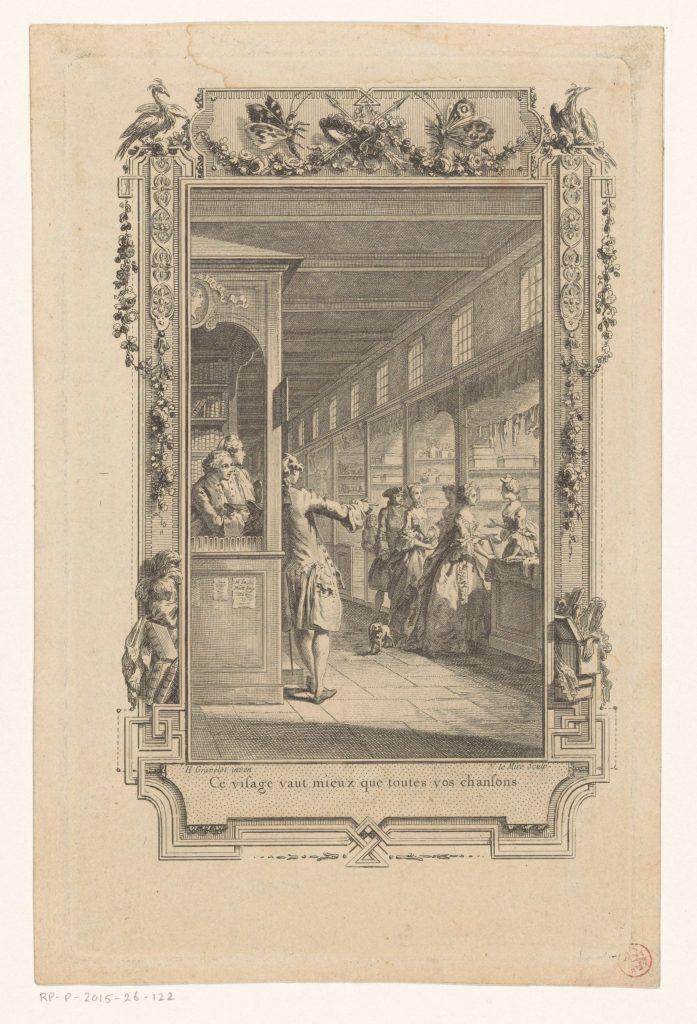 Galerie du Palais de justice, Paris, gravure de Noël Le Mire, d'après Hubert François Gravelot, 1774 (?),