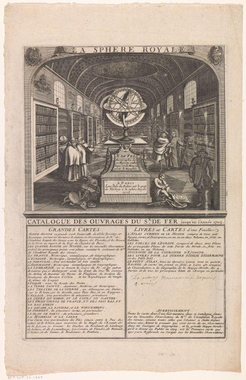Catalogue des ouvrages du sr. de Fer jusqu'en l'Année 1705, frontispice anonyme