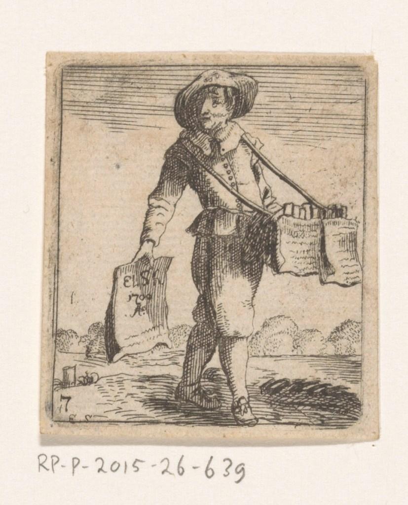 Vendeur de livres et d'estampes, gravure anonyme, 1709