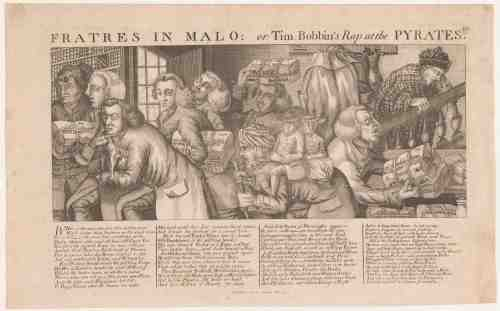 «Fratres in Malo : or Tim. Bobbin's Rap at the Pyrates», gravure de Thomas Sander, mai 1773