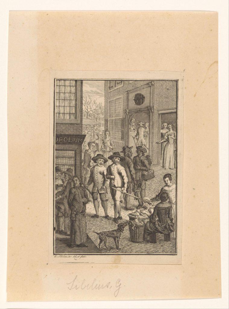 «Hugo de Groot entre sur le marché de Gorinchem en vêtements de maçon» (1621), gravure de Gerard Sibelius, 1768-1771