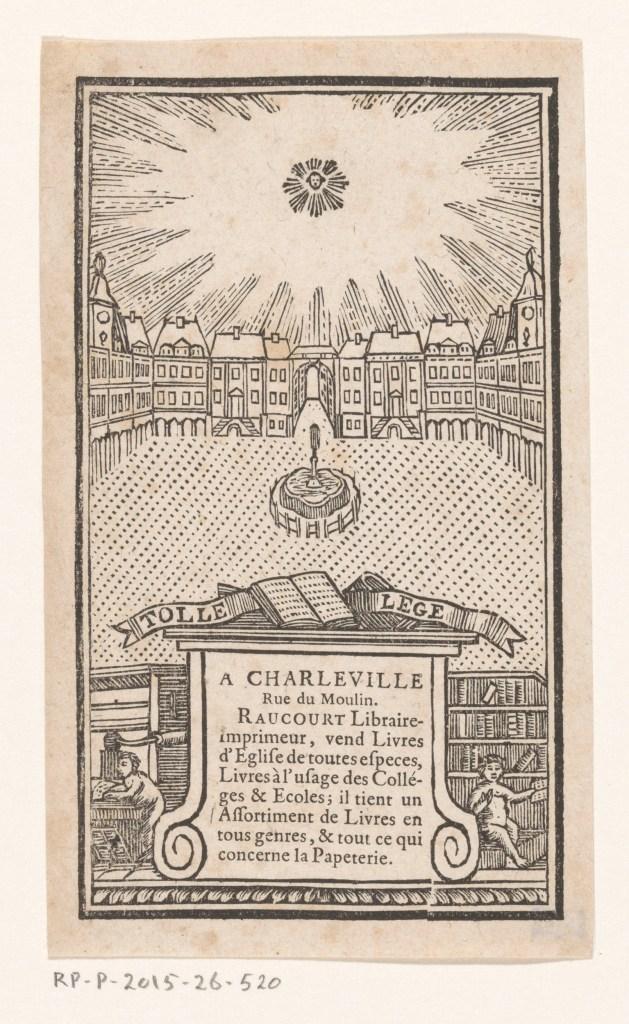 Carte de visite de Jean-Baptiste-François Raucourt, libraire et imprimeur à Charleville, gravure anonyme, 1781-1836 ?