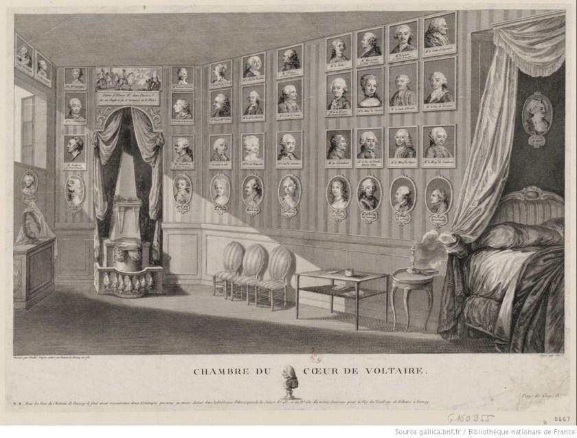 «Chambre du cœur de Voltaire», gravure de François Denis Née d'après un dessin de Duché, fin du XVIIIe siècle