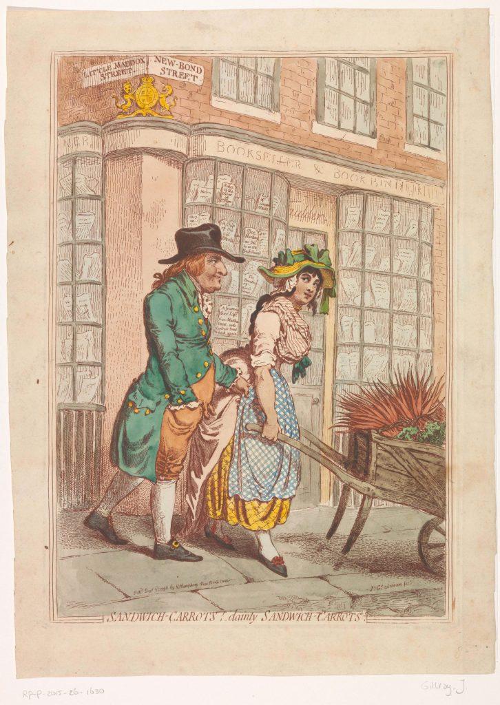 Couple devant la librairie de Robert Faulder à Londres, gravure de James Gillray, décembre 1796, Rijksmuseum, Amsterdam