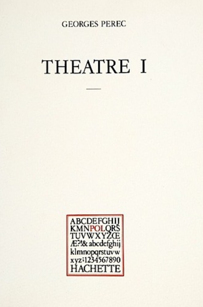 Georges Perec, Théâtre I, éd. de 1981, couverture