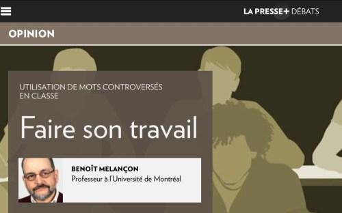 Benoît Melançon, «Faire son travail», la Presse+, 21 octobre 2020, illustration