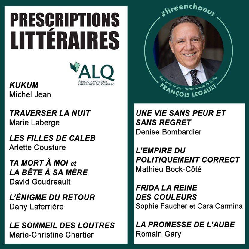 Les prescriptions littéraires de François Legault, novembre 2020