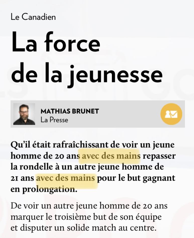 Mathieu Brunet, «La force de la jeunesse», la Presse+, 29 mai 2017, premières lignes