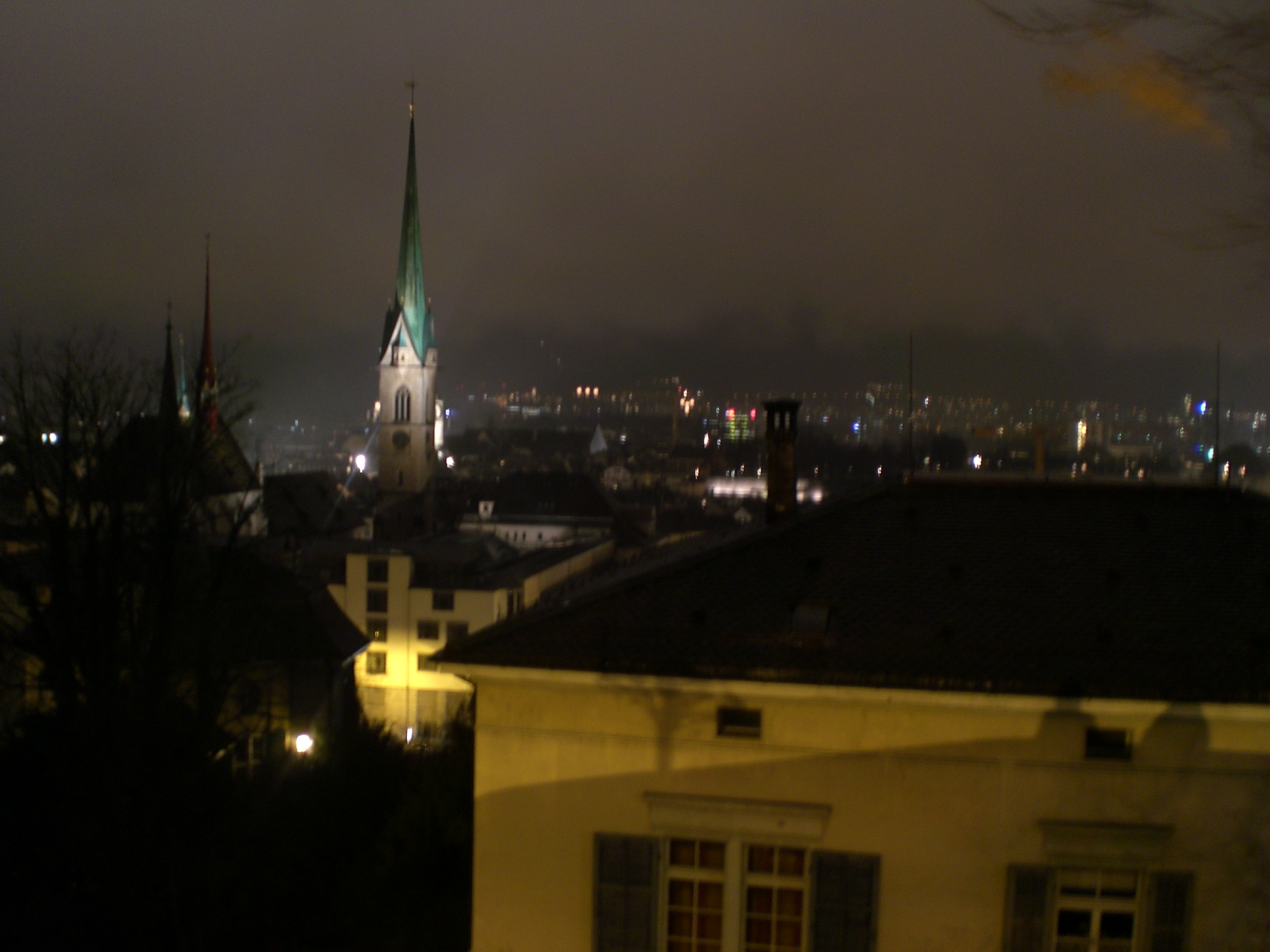 Skats no Cīrihes universitātes apkārtnes uz leju