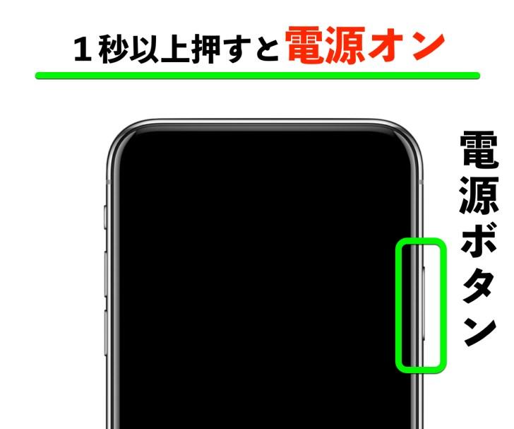 iPhoneX電源オンの操作の写真