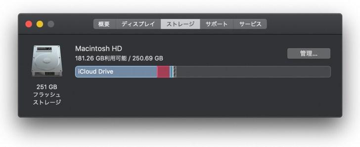 MacBook ストレージ 容量 画像